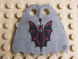 LEGO bb190pb01 Minifigure, Cape Cloth, Scalloped 6 Points with Bat Pattern