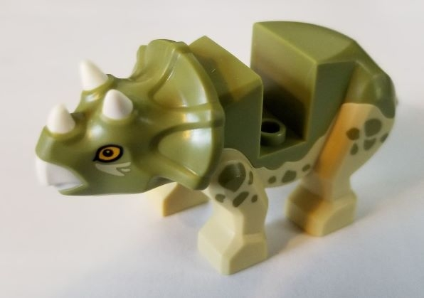 LEGO bb1151c01pb01 Dinosaur, Triceratops Baby with Olive Green Top with White Horns and Beak Pattern