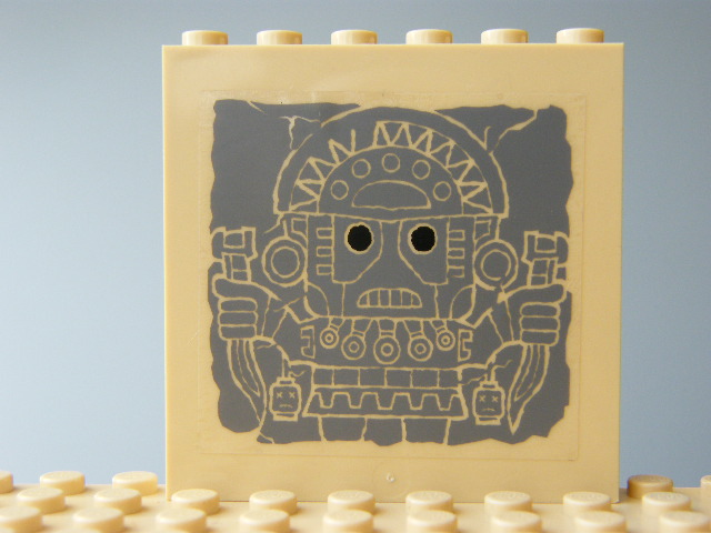 LEGO 59349pb045 - Panel 1 x 6 x 5 with Aztec Head Pattern 2 on Inside