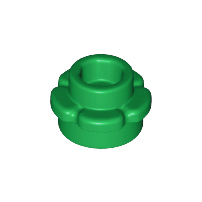 LEGO 24866 - Green Plate, Round 1 x 1 with Flower Edge