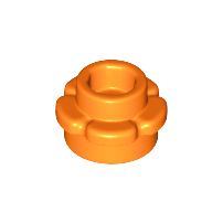 LEGO 24866 - Orange Plate, Round 1 x 1 with Flower Edge