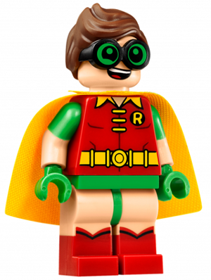 LEGO sh315 - Robin - Green Glasses, Smile / Scared Pattern