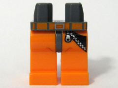 LEGO 970c04pb01 - Hips and Orange Legs with Zipper and Orange Belt Pattern