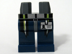 LEGO 970c63pb02 - Hips and Dark Blue Legs with Silver and Lime Stripes and ID Card Pattern
