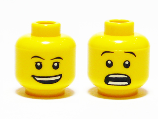 LEGO 3626bpb0333 - Minifig, Head Dual Sided Thin Eyebrows, Open Smile /
