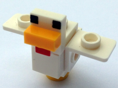 LEGO minechicken02 - Minecraft Chicken, Wings Spread - Complete Assembly