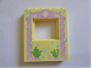 LEGO 15627pb009 Panel 1 x 6 x 6 with Window with Pink Arch, Bubbles and Sea Grass Pattern