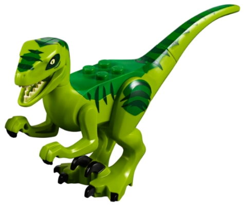 LEGO Raptor08 - Dino Raptor with Black Claws and Green and Dark Green Back - Complete Assembly