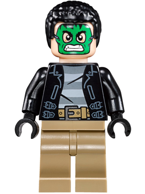 LEGO sh421 - Masked Robber - Green Mask, Striped Shirt (76082