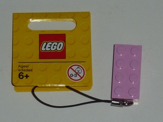 LEGO 853249 - 2 x 4 Brick - Bright Pink Key Chain with String
