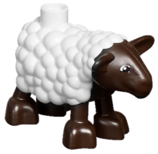LEGO duplamb01pb01 Duplo Sheep, Lamb with Dark Brown Legs and Head