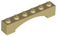LEGO 92950 - Tan Brick, Arch 1 x 6 Raised Arch