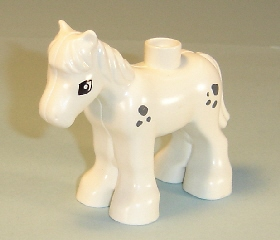 horse03c01pb03 Duplo Horse Foal with Small Dark Bluish Gray Spots