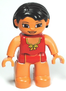 LEGO 47394pb132 Duplo Figure Lego Ville, Female, Red Swimsuit with Yellow Bow