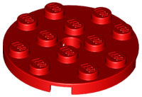 LEGO 60474 - Red Plate, Round 4 x 4 with Hole