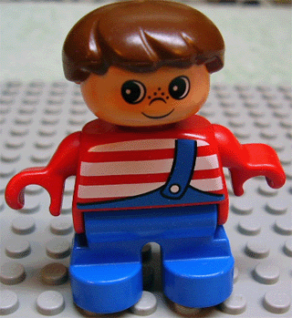 LEGO 6453pb004 Duplo Figure, Child Type 2 Boy, Blue Legs