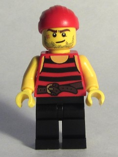 LEGO pi167 Pirate 6 - Black and Red Stripes, Black Legs, Scar