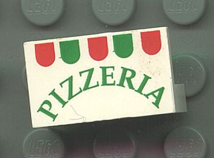 LEGO 4865pb001 Panel 1 x 2 x 1 with Pizzeria Pattern