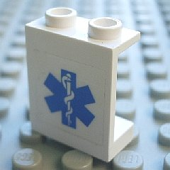 LEGO 4864bpb033 Panel 1 x 2 x 2 - Hollow Studs with Blue EMT Star of Life Pattern