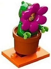 LEGO col18-14 Flowerpot Girl, Series 18 (Complete Set with Stand and Accessories)