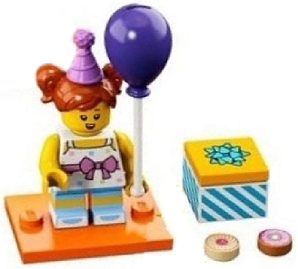 LEGO col18-6 Birthday Party Girl, Series 18 (Complete Set with Stand and Accessories)