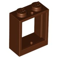 LEGO 60592 Reddish Brown Window 1 x 2 x 2 Flat Front