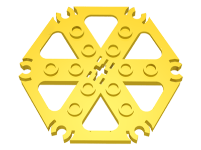 LEGO 64566 Yellow Technic, Plate Rotor 6 Blade with Clip Ends Connected (Water Wheel)