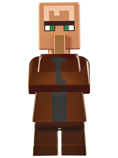LEGO min028 Villager - Reddish Brown Top
