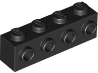 LEGO 30414 Black Brick, Modified 1 x 4 with 4 Studs on 1 Side