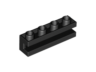 LEGO 2653 Black Brick, Modified 1 x 4 with Groove