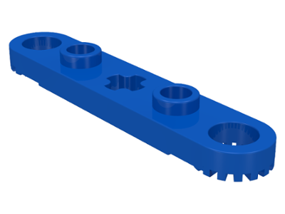 LEGO 2711 Blue Technic, Plate 1 x 5 with Toothed Ends, 2 Studs and Center Axle Hole