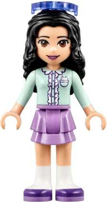 LEGO frnd238 Friends Emma, Medium Lavender Layered Skirt, Light Aqua Top, Sunglasses