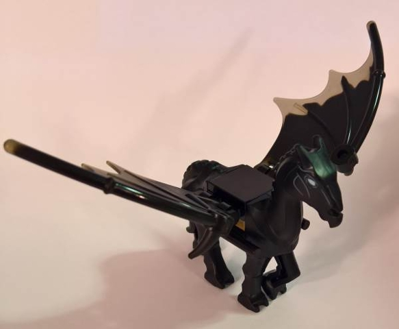 LEGO skelHorsec02pb1 Horse, Skeletal with Wings Swept Back, White Eyes Pattern, Harry Potter (Thestral)