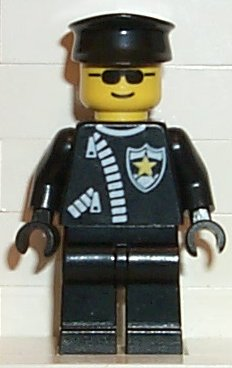 LEGO cop025 Police - Zipper with Sheriff Star, Black Hat