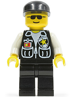 LEGO soc045 Police - Sheriff Star and 2 Pockets, Black Legs, White Arms, Black Cap, Black Sunglasses