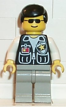 LEGO cop037 Police - Sheriff Star and 2 Pockets, Light Gray Legs, White Arms, Black Male Hair