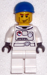 LEGO cty0221 Spacesuit, White Legs, Blue Short Bill Cap, Brown Eyebrows
