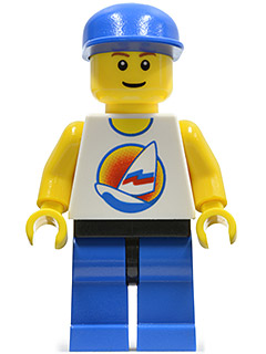 LEGO par059 Surfboard on Ocean, Blue Legs, Black Hips, Blue Cap
