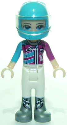 LEGO frnd277 Friends Stephanie, White Trousers, Medium Azure and Magenta Racing Jacket, Helmet
