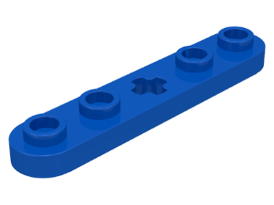LEGO 32124 Blue Technic, Plate 1 x 5 with Smooth Ends, 4 Studs and Center Axle Hole