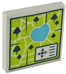 3068bpb1135 Tile 2 x 2 with Groove with Map Heartlake Park PatternLEGO