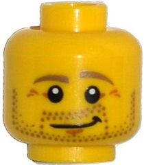 LEGO 3626cpb1226 Minifigure, Head Beard Stubble, Dark Tan Eyebrows, Crow's Feet, Lopsided Smile Pattern - Hollow Stud