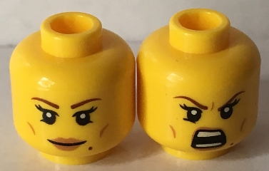 LEGO 3626cpb1639 Minifigure, Head Dual Sided Female Brown Eyebrows, Eyelashes, Peach Lips, Beauty Mark, Smile / Open Mouth Bared Teeth Pattern