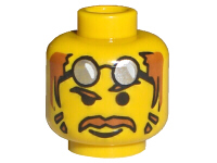 LEGO 3626bpx32 Minifigure, Head Moustache Brown Hair, Glasses on Forehead, Raised Eyebrow Pattern