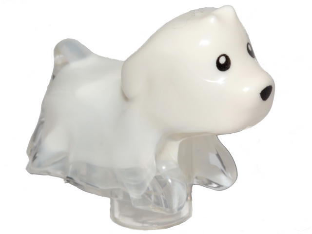 LEGO 52672pb01 Dog, Ghost with Marbled White Pattern (Spencer)