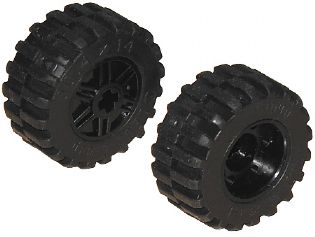 LEGO 55982c01 Wheel 18mm D. x 14mm with Axle Hole, Fake Bolts and Shallow Spokes with Black Tire 30.4 x 14 Offset Tread