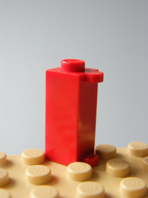 LEGO 3581 Red Brick, Modified 1 x 1 x 2 with Shutter Holder