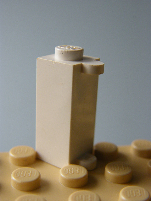 LEGO 3581 White Brick, Modified 1 x 1 x 2 with Shutter Holder