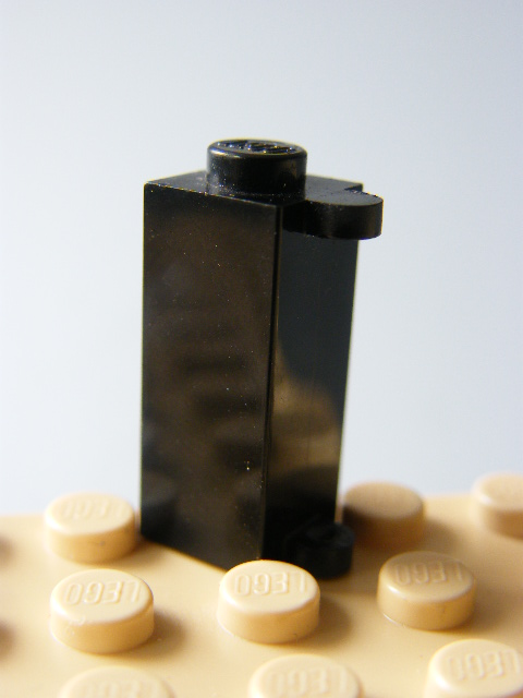LEGO 3581 Black Brick, Modified 1 x 1 x 2 with Shutter Holder