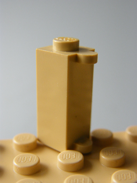 LEGO 3581 Tan Brick, Modified 1 x 1 x 2 with Shutter Holder